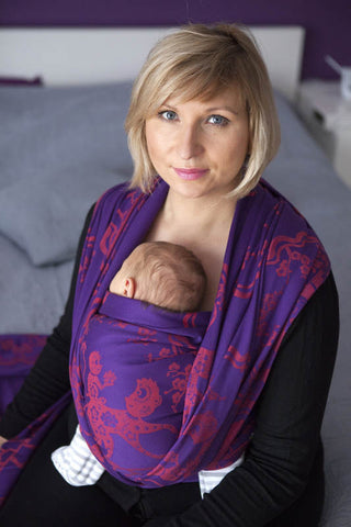 LL Long Woven BABY WRAP JACQUARD WEAVE (100% COTTON) - MICO RED & PURPLE