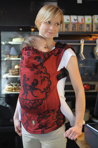 ERGONOMIC CARRIER JACQUARD WEAVE 100% COTTON - WRAP CONVERSION - MICO RED & BLACK - The Birth Shop