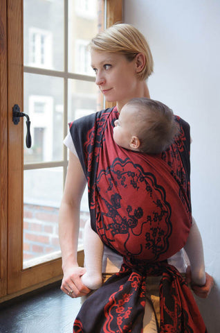 LL LONG WOVEN BABY WRAP JACQUARD WEAVE (100% COTTON) - MICO RED & BLACK - The Birth Shop