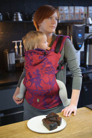 ERGONOMIC CARRIER JACQUARD WEAVE 100% COTTON - WRAP CONVERSION - MICO RED & PURPLE - The Birth Shop