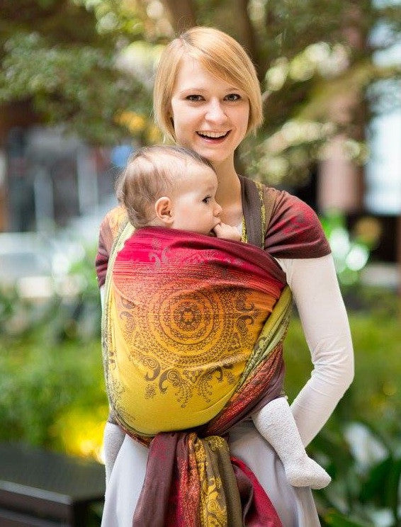 LL LONG WOVEN BABY WRAP JACQUARD WEAVE (100% COTTON) - NOBLE INDIAN PEACOCK - The Birth Shop