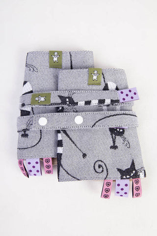 DROOL PADS & REACH STRAPS SET, (100% COTTON) - CRAZY CATS - The Birth Shop