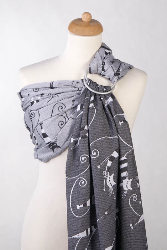 RINGSLING, JACQUARD WEAVE (100% COTTON) - WITH GATHERED SHOULDER - CRAZY CATS - The Birth Shop