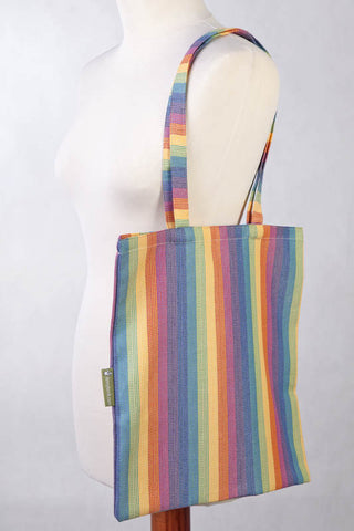 SHOPPING BAG MADE OF WRAP FABRIC (60% COTTON, 40% BAMBOO) - SUNRISE RAINBOW - STANDARD SIZE 33CMX39CM - The Birth Shop