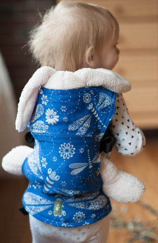 DOLL CARRIER MADE OF WOVEN FABRIC, 100% COTTON - DRAGONFLY BLUE & WHITE
