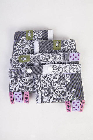 DROOL PADS & REACH STRAPS SET, (100% COTTON) - SILVER BUTTERFLY - The Birth Shop