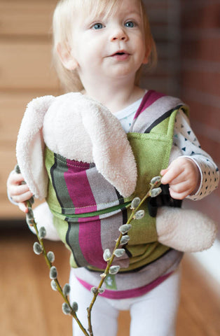 DOLL CARRIER MADE OF WOVEN FABRIC, 100% COTTON - LIME & KHAKI - The Birth Shop