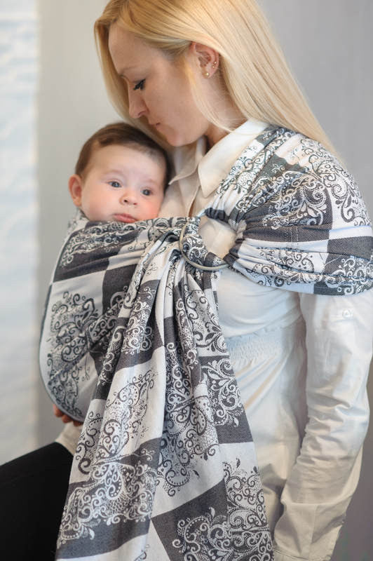 RINGSLING, JACQUARD WEAVE (100% COTTON) - WITH GATHERED SHOULDER - SILVER BUTTERFLY - The Birth Shop