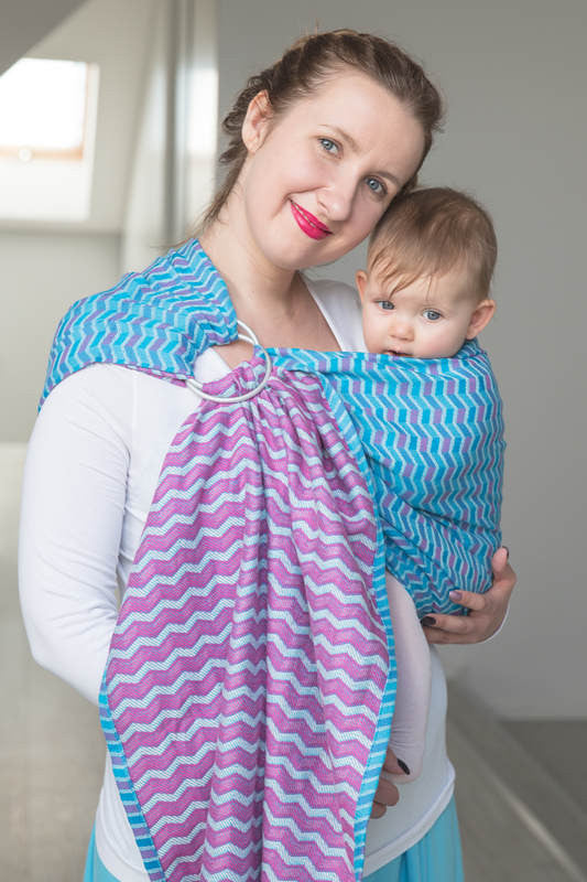 RINGSLING, JACQUARD WEAVE (100% COTTON) - ZIGZAG TURQUOISE & PINK - The Birth Shop