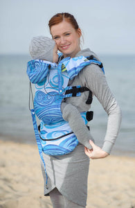 ERGONOMIC CARRIER, BABY SIZE, JACQUARD WEAVE 100% COTTON - WRAP CONVERSION FROM BLUE WAVES 2.0, SECOND GENERATION - The Birth Shop
