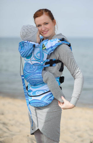 ERGONOMIC CARRIER, BABY SIZE, JACQUARD WEAVE 100% COTTON - WRAP CONVERSION FROM BLUE WAVES 2.0, SECOND GENERATION