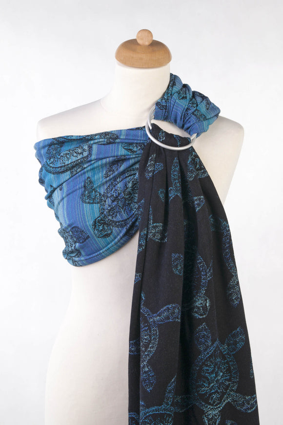 RINGSLING, JACQUARD WEAVE (100% COTTON) - WITH GATHERED SHOULDER - SEA ADVENTURE DARK - The Birth Shop