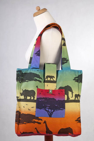 SHOULDER BAG MADE OF WRAP FABRIC (100% COTTON) - RAINBOW SAFARI 2.0 - STANDARD SIZE 37CMX37CM - The Birth Shop