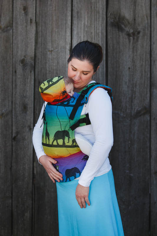 ERGONOMIC CARRIER, BABY SIZE, JACQUARD WEAVE 100% COTTON - WRAP CONVERSION FROM RAINBOW SAFARI 2.0 - SECOND GENERATION - The Birth Shop