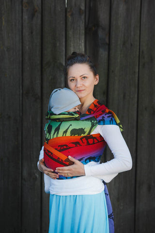 WRAP-TAI CARRIER MINI WITH HOOD/ JACQUARD TWILL / 100% COTTON / RAINBOW SAFARI 2.0