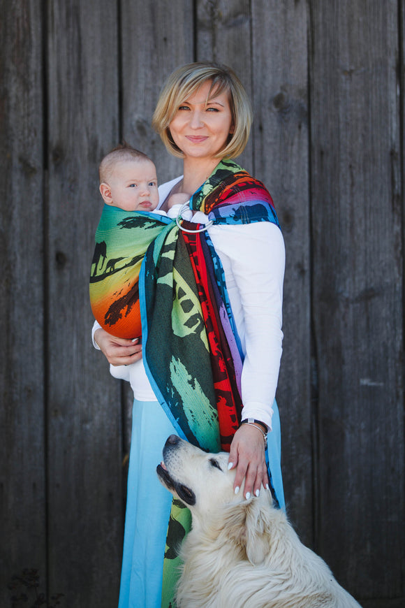 RINGSLING, JACQUARD WEAVE (100% COTTON), WITH GATHERED SHOULDER - RAINBOW SAFARI 2.0 (GRADE B) - The Birth Shop