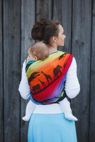 BABY WRAP, JACQUARD WEAVE (100% COTTON) - RAINBOW SAFARI 2.0 - SIZE S - The Birth Shop