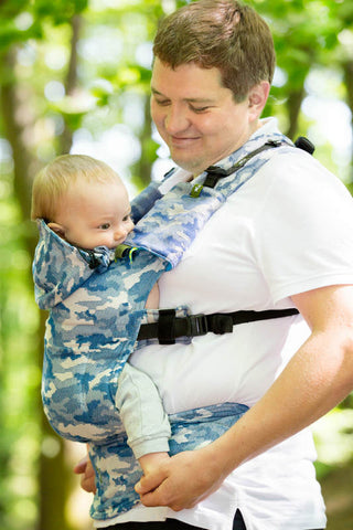 ERGONOMIC CARRIER, BABY SIZE, JACQUARD WEAVE 100% COTTON - WRAP CONVERSION FROM BLUE CAMO - SECOND GENERATION - The Birth Shop