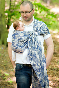 RINGSLING, JACQUARD WEAVE (100% COTTON) - WITH GATHERED SHOULDER - BLUE CAMO - The Birth Shop