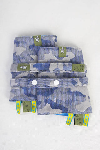 DROOL PADS & REACH STRAPS SET, (100% COTTON) - BLUE CAMO