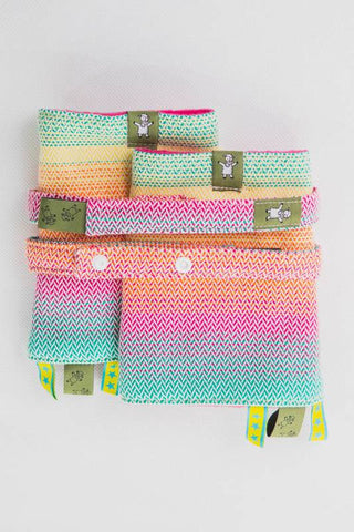 DROOL PADS & REACH STRAPS SET, (100% COTTON) - LITTLE HERRINGBONE IMAGINATION - The Birth Shop