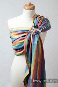 RING SLING, BROKEN TWILL WEAVE (BAMBOO + COTTON) WITH GATHERED SHOULDER- SUNRISE RAINBOW - The Birth Shop