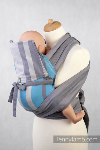 MEI-TAI CARRIER MINI, BROKEN-TWILL WEAVE - 100% COTTON - WITH HOOD, MISTY MORNING - The Birth Shop