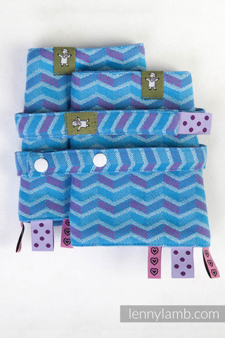 DROOL PADS & REACH STRAPS SET, (100% COTTON) - ZIGZAG TURQUOISE & PINK