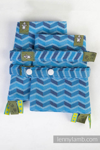 DROOL PADS & REACH STRAPS SET, (100% COTTON) - ZIGZAG TURQUOISE & PURPLE
