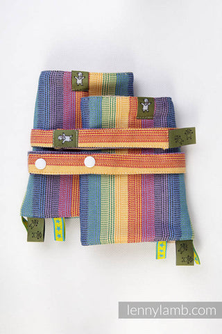DROOL PADS & REACH STRAPS SET, (60% COTTON, 40% BAMBOO) - SUNRISE RAINBOW