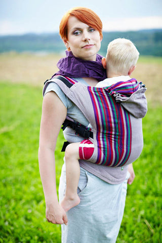 ERGONOMIC CARRIER BROKEN-TWILL WEAVE 100% COTTON - WRAP CONVERSION - HEATHER NIGHTS - The Birth Shop