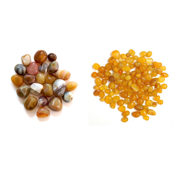 2kg Golden Banded Onyx Pebbles + 2kg Yellow Onyx Pebbles