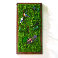 A Vivid Thicket Moss Frame with Dark Wood