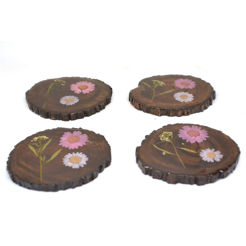 Craggy Coral Dried Flower Coaster