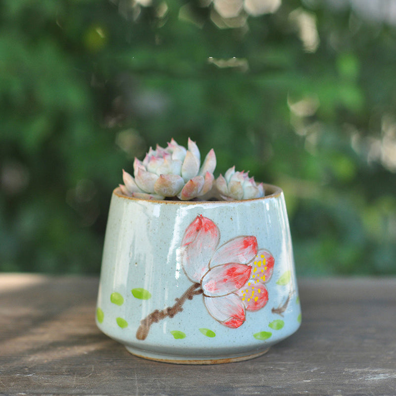 Blue Floret Ceramic Pot