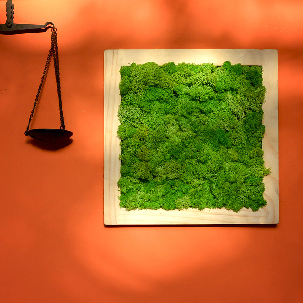 Classic Green Moss Frame with Light Wood