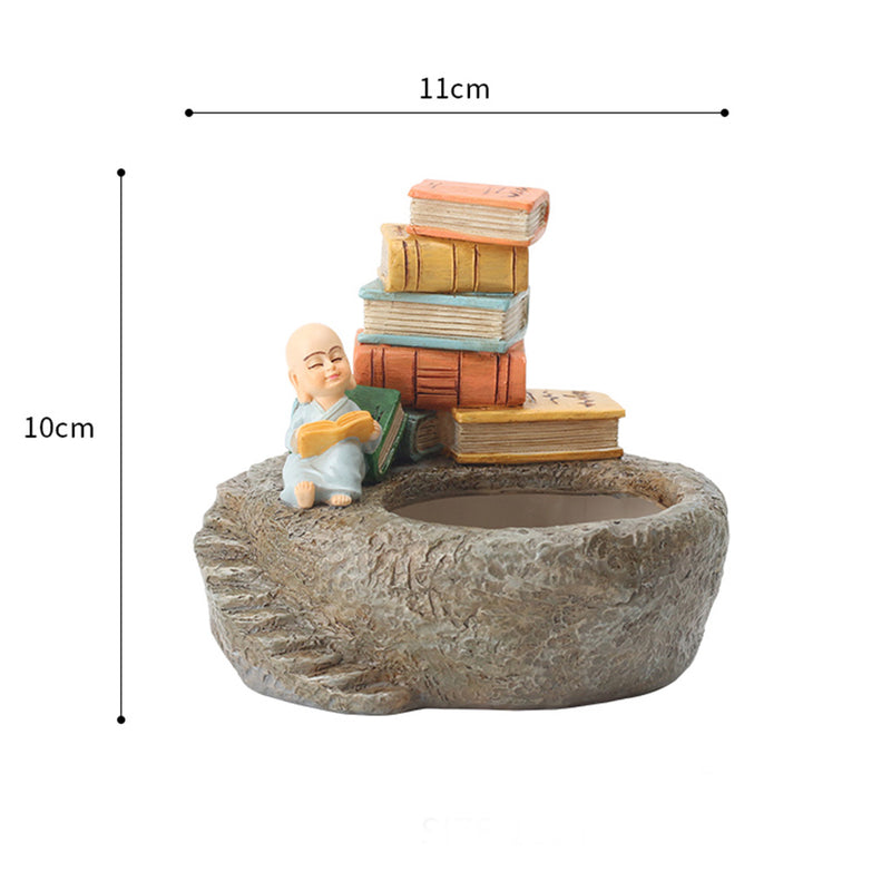 Cute Monk Reading Book Resin Succulent Pot