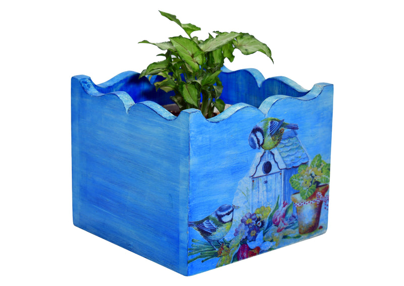 Bushes And Flower Wooden  Planter