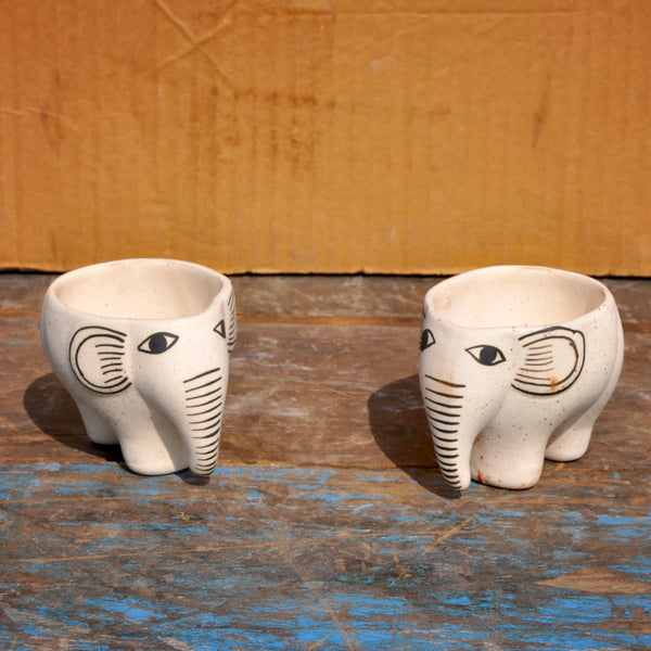Set of 2 Elephant Succulent Pots