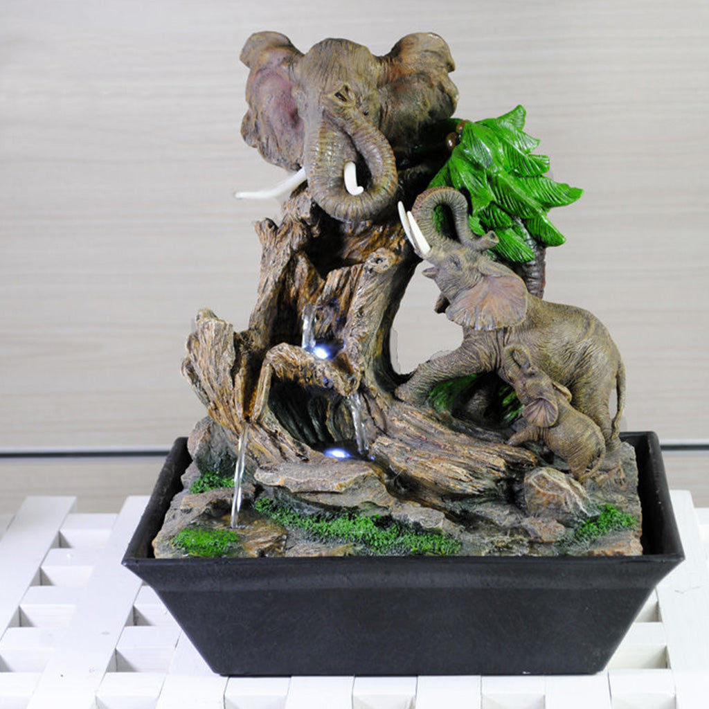 Elephants in a Jungle Water Fountain