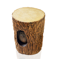 Wooden Log With Owl Stool