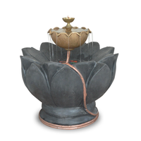 Lotus With Stone Texture Water Fountain