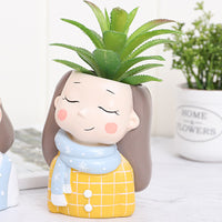 Girl in Muffler Resin Succulent Pot