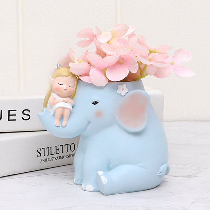 Cute Girl on Elephant Resin Succulent Pot