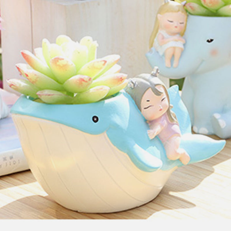 Cute Girl on Whale Resin Succulent Pot