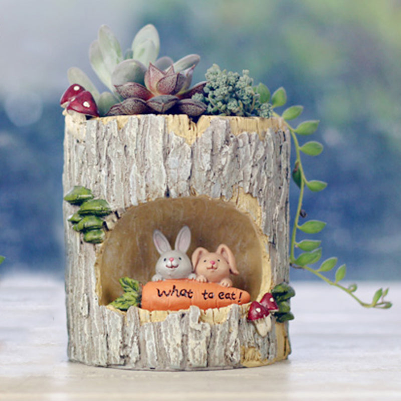 Hungry Rabbits in Treehouse Resin Succulent Pot