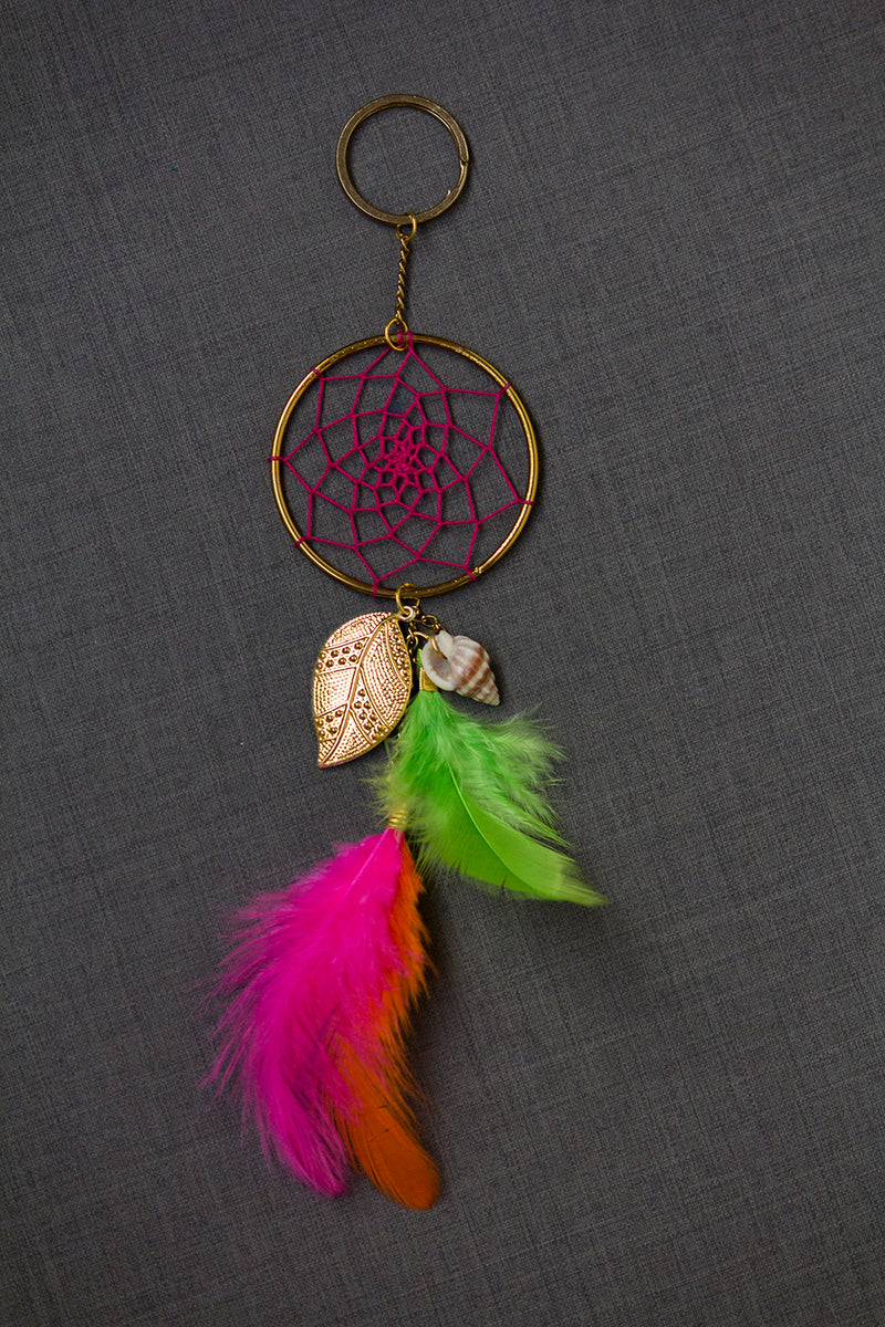 Dream Catcher  Keychain  Pink Green