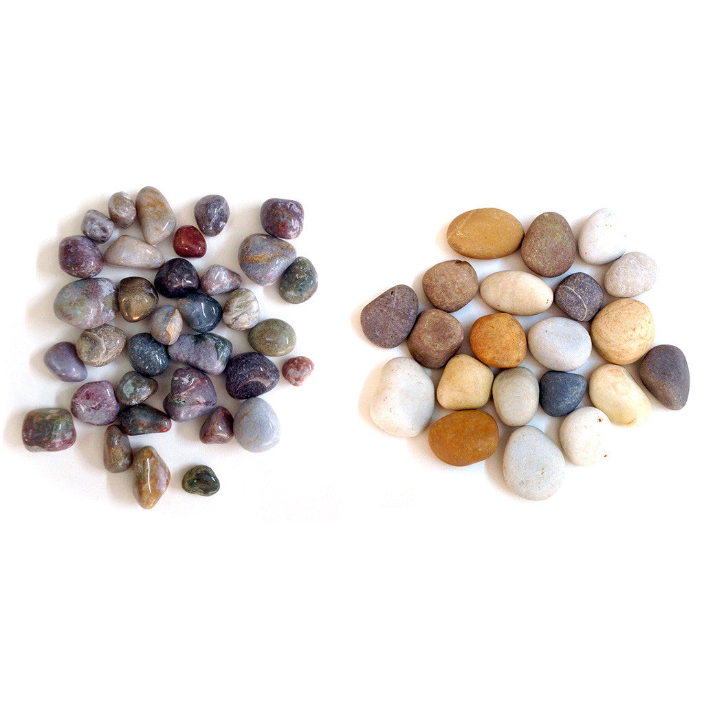 2kg Fancy Natural Pebbles + 2kg River Mix Unpolished Pebbles Decor myBageecha - myBageecha
