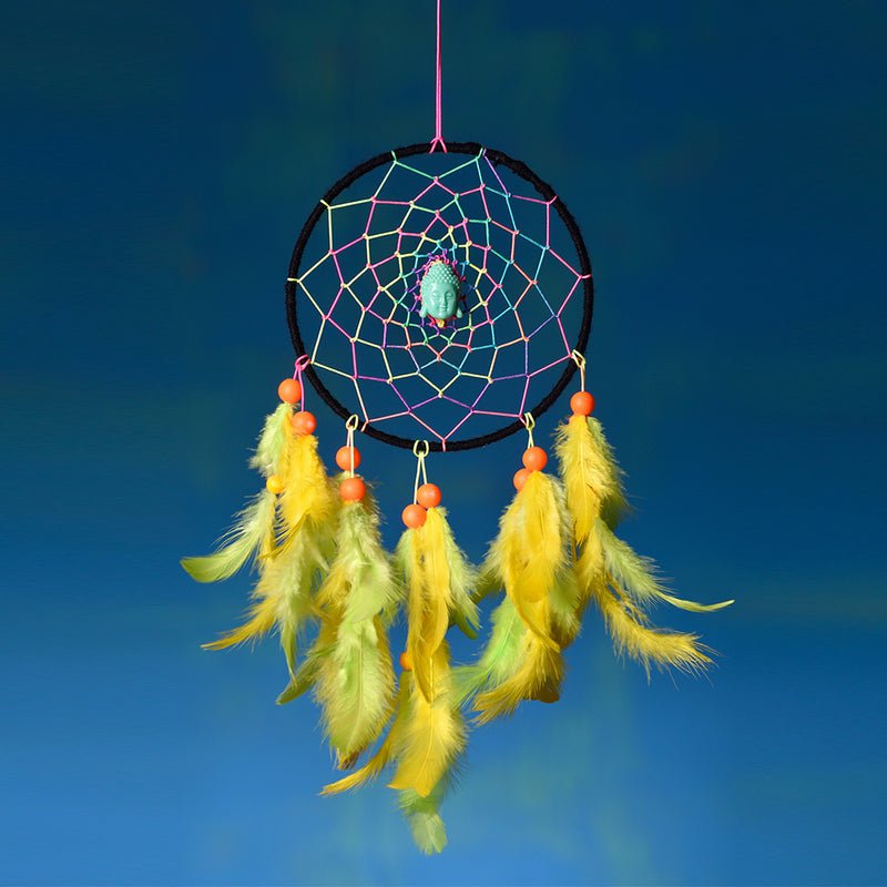 Psychedelic Neon with Blue Buddha Dreamcatcher