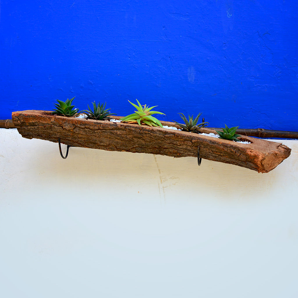 Raw Wooden Railing Planter with Metal Stand